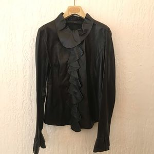 RARE VINTAGE GUCCI BLACK LEATHER RUFFLE TOP JACKET